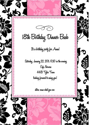 Designhome Online on 18th Birthday Party Invitations     Featured Design